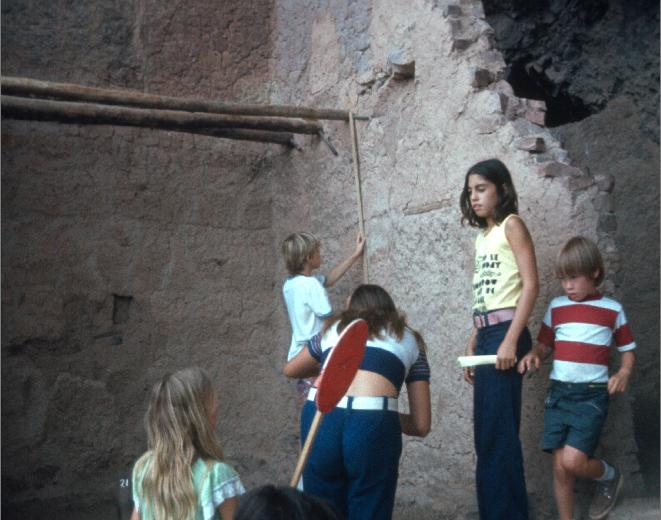 Measuring room dimensions Indian dwelling Tonto National Monument Arizona